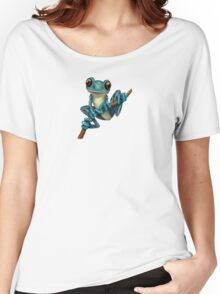 Cute Blue Tree Frog on a Branch Women's Relaxed Fit T-Shirt