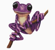 Cute Purple Tree Frog on a Branch One Piece - Short Sleeve