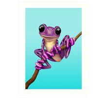 Cute Purple Tree Frog on a Branch Art Print