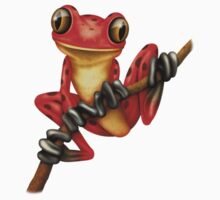 Cute Red Tree Frog on a Branch One Piece - Short Sleeve