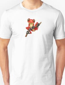 Cute Red Tree Frog on a Branch Unisex T-Shirt