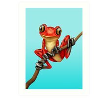 Cute Red Tree Frog on a Branch Art Print
