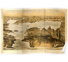 Panoramic Maps Birdseye view of San Francisco and surrounding country Poster