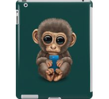 Cute Baby Monkey Holding a Blue Cell Phone  iPad Case/Skin