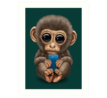 Cute Baby Monkey Holding a Blue Cell Phone  Art Print