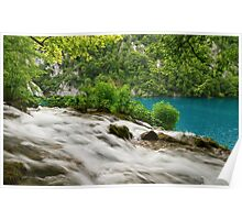 Flowing water and turquoise lake. Poster