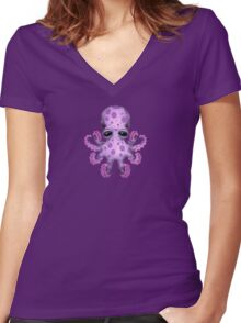 Cute Purple Baby Octopus Women's Fitted V-Neck T-Shirt