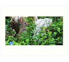 Easter Bunny Posing for His Statue Art Print