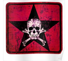 skull and bones red Poster