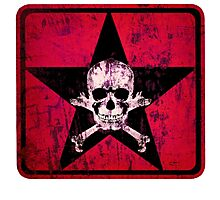 skull and bones red Photographic Print