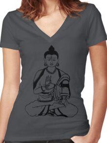 Big Buddha Design Women's Fitted V-Neck T-Shirt