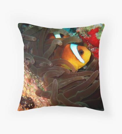 Clownfish in Hiding Throw Pillow