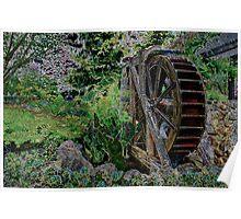 Garden's Water Wheel Poster