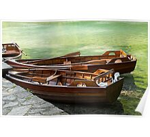 Rowboats in green lake. Poster