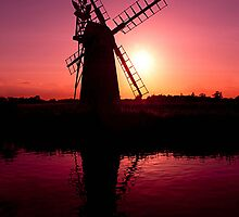 Horsey Windpump At Sunset by John Dickson