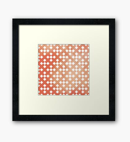 Red Square Puzzle Pattern Framed Print