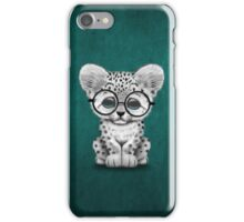 Cute Snow Leopard Cub Wearing Glasses on Teal Blue iPhone Case/Skin