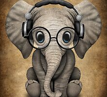 Cute Baby Elephant Dj Wearing Headphones and Glasses by Jeff Bartels