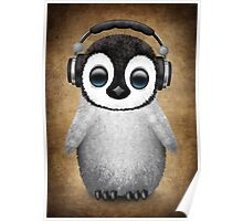 Cute Baby Penguin Dj Wearing Headphones Poster