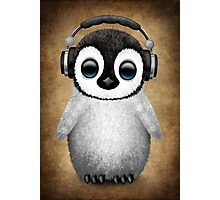 Cute Baby Penguin Dj Wearing Headphones Photographic Print