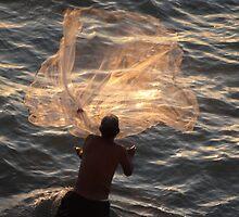 Fishing In The Evening - Pescando En La Nochecita by Bernhard Matejka
