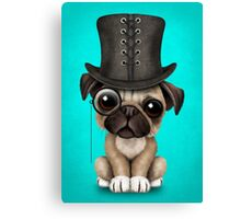 Cute Pug Puppy with Monocle and Top Hat on Blue Canvas Print