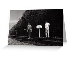 Kids on the Railroad Tracks Greeting Card