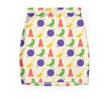 Rocket, Guitar, Planet, Dinosaur Pattern Mini Skirt