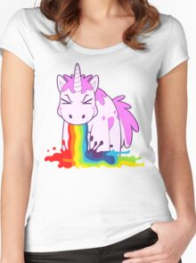 Unicorn 'I Puke Rainbows!' Women's Fitted Scoop T-Shirt