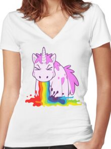 Unicorn 'I Puke Rainbows!' Women's Fitted V-Neck T-Shirt