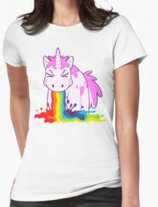 Unicorn 'I Puke Rainbows!' Womens Fitted T-Shirt
