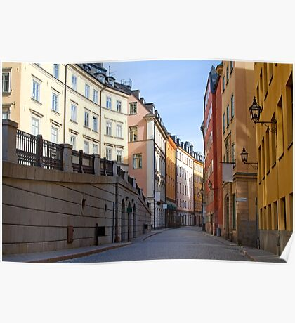 Stockholm, Old Town street. Poster