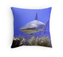 Shark Swimming Into Shot Throw Pillow