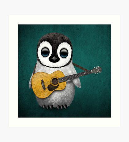 Musical Baby Penguin Playing Guitar Teal Blue Art Print