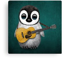 Musical Baby Penguin Playing Guitar Teal Blue Canvas Print