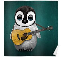 Musical Baby Penguin Playing Guitar Teal Blue Poster
