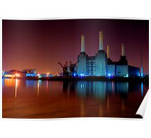 Battersea power station night shot Poster