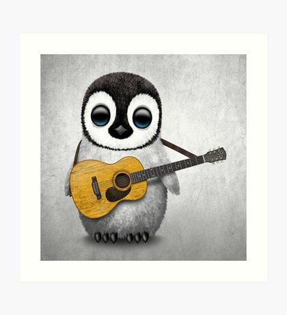 Musical Baby Penguin Playing Guitar White Art Print