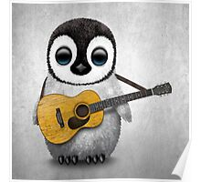 Musical Baby Penguin Playing Guitar White Poster