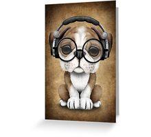 English Bulldog Puppy Dj Wearing Headphones and Glasses Greeting Card