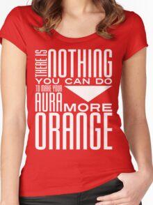 Orange Aura in White Women's Fitted Scoop T-Shirt