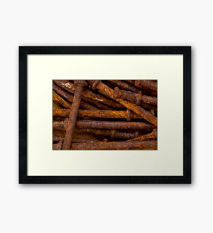 Rusty weathered nails Framed Print
