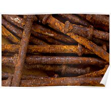 Rusty weathered nails Poster