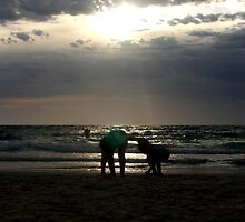 Silhouettes At Grange Beach by Cherie Vivar