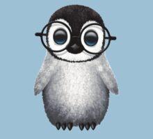 Cute Baby Penguin Wearing Eye Glasses on Blue Baby Tee