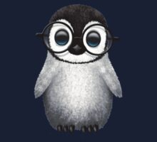 Cute Baby Penguin Wearing Eye Glasses on Blue One Piece - Long Sleeve