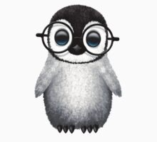 Cute Baby Penguin Wearing Eye Glasses on Blue Baby Tee