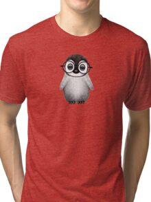 Cute Baby Penguin Wearing Eye Glasses on Blue Tri-blend T-Shirt
