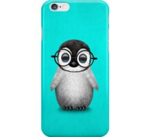 Cute Baby Penguin Wearing Eye Glasses on Blue iPhone Case/Skin