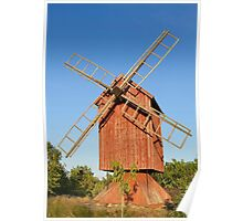 Old wooden windmill. Poster